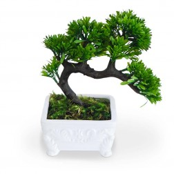 Planta Artificial Bonsai no Vaso Branco 20x20 cm