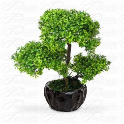 Planta Artificial Bonsai no Cachepot Preto 30x30 cm